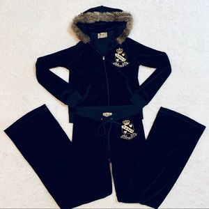 Juicy Couture 2 Piece Black Velour Track Suit Med